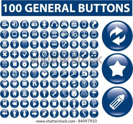 100 general buttons, icons, signs, vector illustrations - stock vector