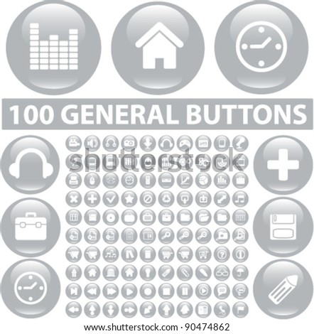 100 general buttons set, icons, signs, vector illustration - stock vector