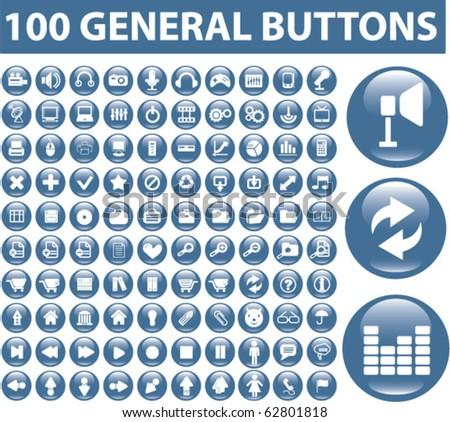 100 general buttons. vector - stock vector