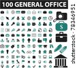 100 general office icons, signs, vector illustrations - stock vector