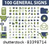 100 general signs, icons, vector illustration - stock vector