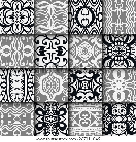 16 Geometric monochrome seamless patterns set. Vector repeating texture, line art. Abstract background. - stock vector