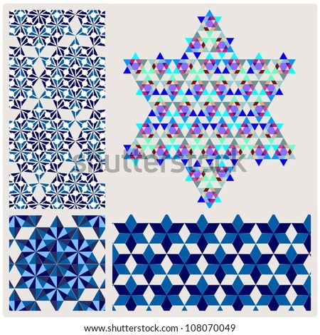 geometric pattern,element blue David star - stock vector