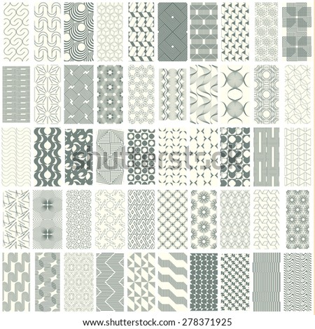 50 geometric seamless pattern set with soft duotone. Abstract background. Vector seamless pattern.