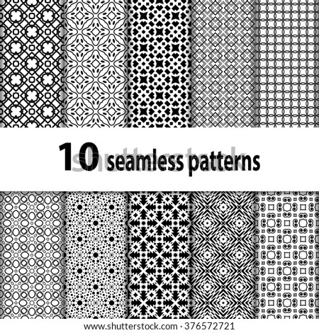 10 geometric seamless patterns set, black and white vector backgrounds collection.