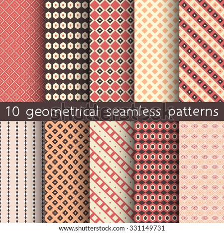 10 geometrical seamless patterns, Pattern Swatches, vector. Texture can be used for wallpaper, pattern fills, web page, background. - stock vector