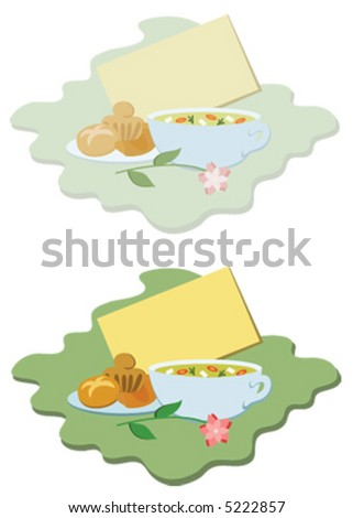 """Get well"" double vignette, with a blank card for your message, a bowl of chicken soup and baked goodies, in pastel and bright coloured versions (vector illustration) - stock vector"