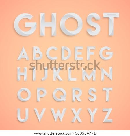 'Ghost' white design typeface, vector - stock vector