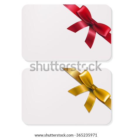 2 Gifts Card With Bows With Gradient Mesh, Vector Illustration - stock vector