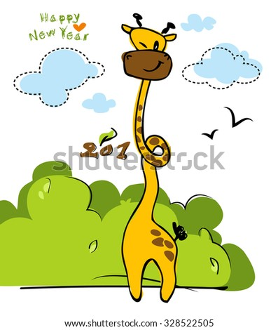 2016 Giraffe in the zoo vector illustration isolated on white