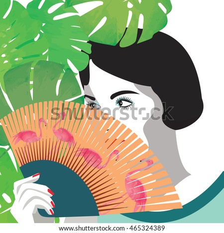 Girl holding fan with flamingos vector. Tropical summer vector.