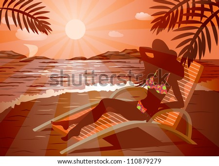 Girl in a hat and sunglasses getting tan on a beach, File EPS(10) - stock vector