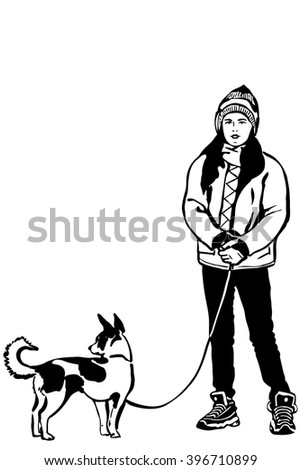 girl in a jacket with a small dog onleashp