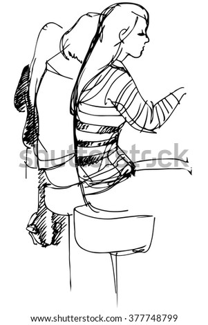 girl on a high stool sitting at a bar - stock vector