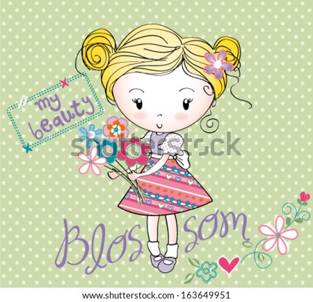 girl with bouquet - stock vector