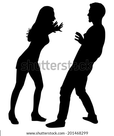 Girl yelling at his boyfriend, vector - stock vector