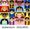 14 Girls Faces 2. Also available plain and with men, women, children and boys. - stock vector
