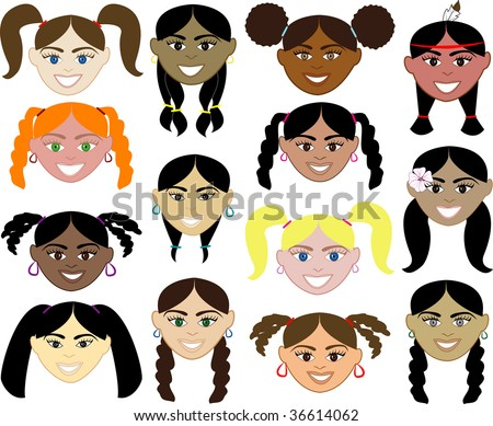 14 Girls Faces 1. Also available plain and with men, women, children and boys. - stock vector
