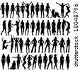 50 girls silhouette - vector - stock vector
