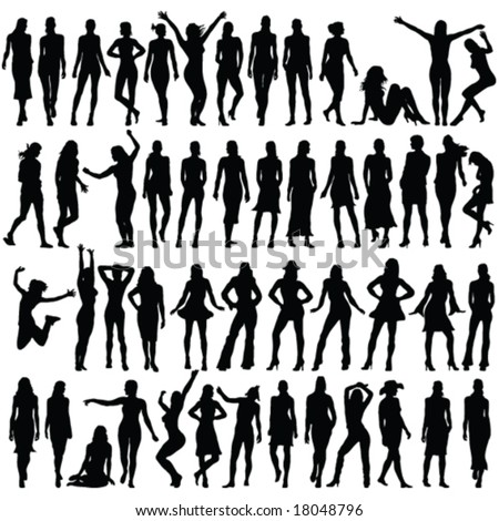 50 girls silhouette - vector - stock vector