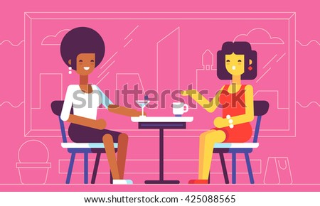 2 girls talking in cafe. Vector illustration.
