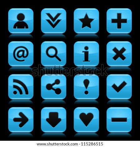 16 glass blue icon with black basic sign. Rounded square shape web button with color reflection on dark black background. Vector illustration design elements saved in 8 eps - stock vector