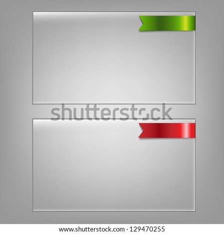 2 Glass Frame Set, Isolated On Grey Background, Vector Illustration - stock vector