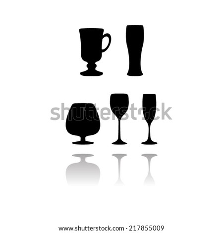 Glass set or collection  with shadow - stock vector