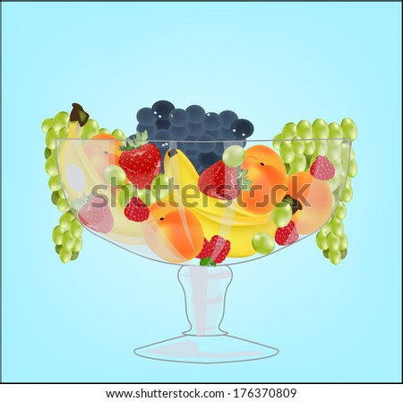 glass vase with fruit