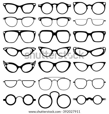 Glasses model icons, man, women frames. Sunglasses, eyeglasses isolated on white.  silhouettes. Different shapes, frame, styles.  Vector illustration on white background. - stock vector