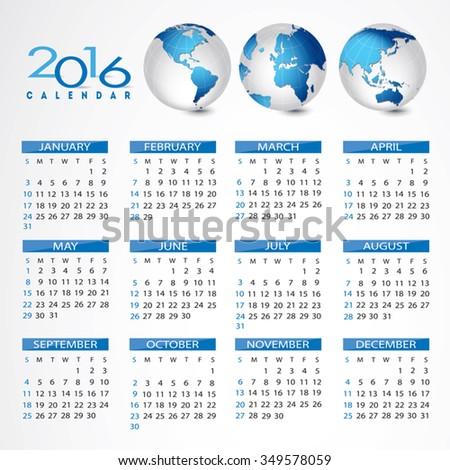 2016 Global calendar - stock vector