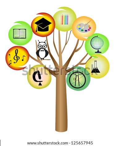 Global education concept tree made books. - stock vector