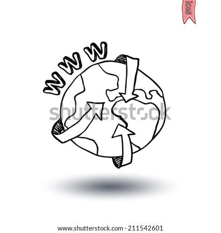 globe and arrows internet, Hand-drawn vector illustration. - stock vector