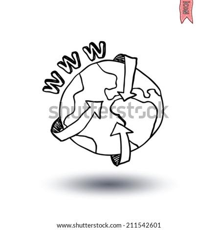 globe and arrows internet, Hand-drawn vector illustration. - stock vector