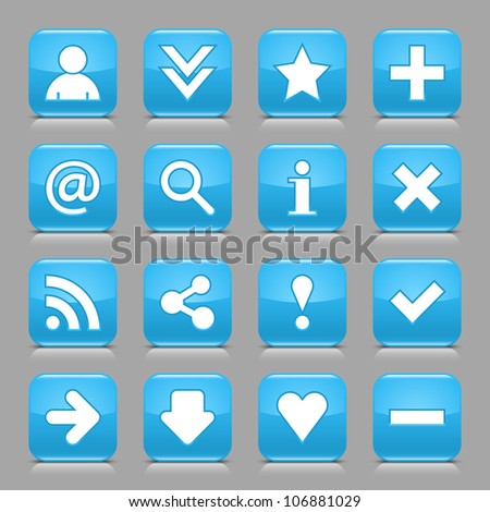 16 glossy blue button with white basic sign. Rounded square shape internet web icon with black shadow and reflection on light gray background. This vector illustration design elements saved 8 eps - stock vector