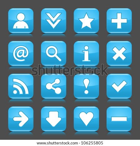 16 glossy blue icon with basic sign. Rounded square shape internet web button with color reflection and black shadow on dark gray background. This illustration vector design elements saved 8 eps - stock vector