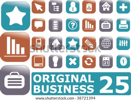 25 glossy business buttons. vector - stock vector