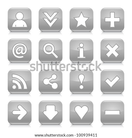 16 glossy gray button with basic sign. Rounded square shape internet web icon with black shadow and reflection on white background. This vector illustration design elements saved 8 eps - stock vector