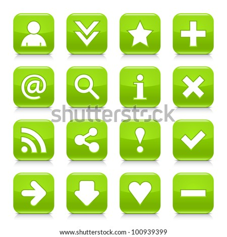 16 glossy green button with basic sign. Rounded square shape internet web icon with black shadow and reflection on white background. This vector illustration design elements saved 8 eps - stock vector