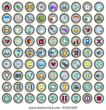 81 Glossy internet and web icons - stock vector