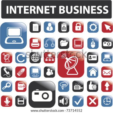 36 glossy internet business buttons, vector - stock vector