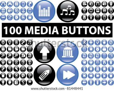 100 glossy media buttons, icons, signs, vector illustrations - stock vector