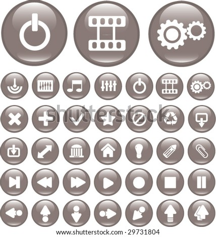 35 glossy media buttons. vector set - stock vector