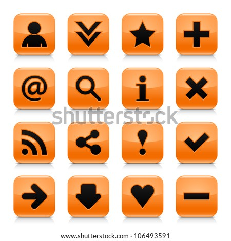 16 glossy orange button with black basic sign. Rounded square shape internet web icon with dark shadow and gray reflection on white background. This vector illustration design elements saved 8 eps - stock vector
