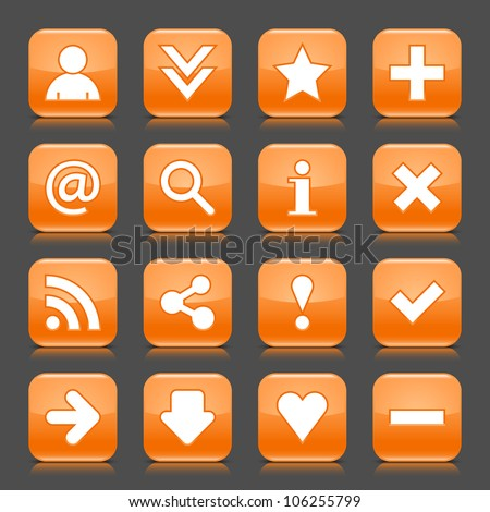 16 glossy orange icon with basic sign. Rounded square shape internet web button with color reflection and black shadow on dark gray background. This illustration vector design elements saved 8 eps - stock vector