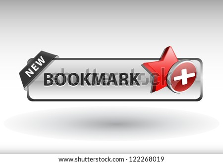 glossy web button with bookmark sign. bookmark star shape icon with shadow - stock vector