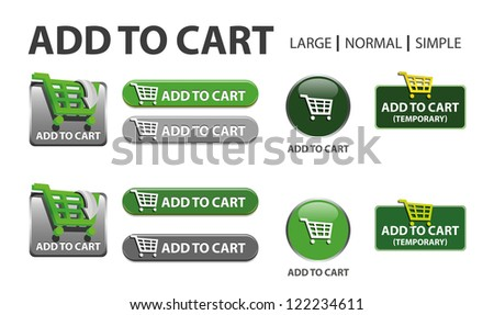 glossy web button with shopping cart sign. shopping cart shape icon with shadow - stock vector