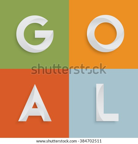 'GOAL' four-letter-word for websites, illustration, vector - stock vector