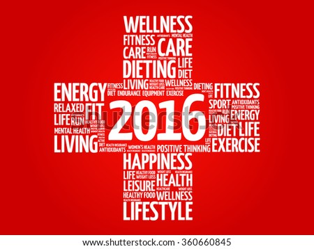 2016 Goals Health word cloud, health cross concept