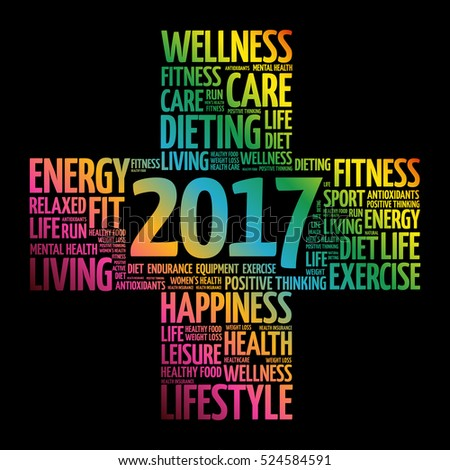 2017 Goals Health word cloud, health cross concept